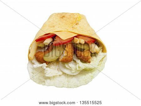 Fast Food Chicken With Vegetables In A Tortilla