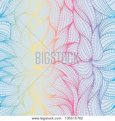 Abstract hand-drawn seamless pattern with dense vegetation. Leaves. Can be used for desktop background or frame for a posterfor pattern fills surface textures web page backgrounds textile and more.
