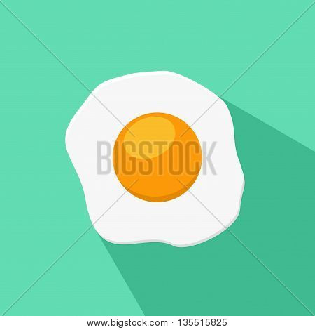 Fried egg isolated on blue-green background. Breakfast flat icon. Scrambled egg lunch plate appetizing morning cooked ingredient. Fresh scrambled egg and fried egg delicious cuisine dish