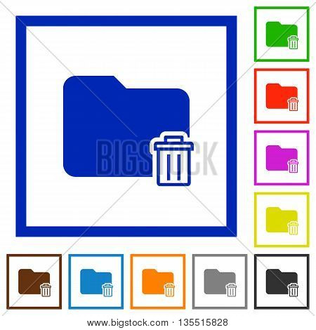 Set of color square framed Delete folder flat icons