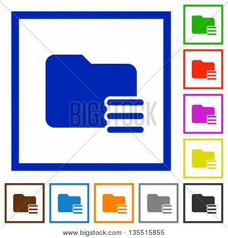 Set of color square framed Folder options flat icons