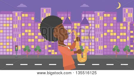 An african-american musician playing saxophone on a night city background vector flat design illustration. Horizontal layout.
