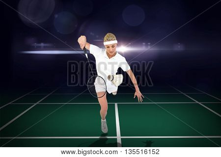 Composite image of badminton player playing badminton on badminton field