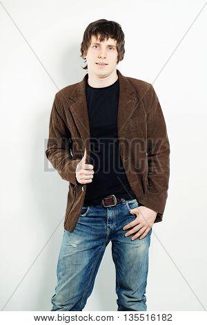 Haughty Confident Man on dark t-shurt. Portrait