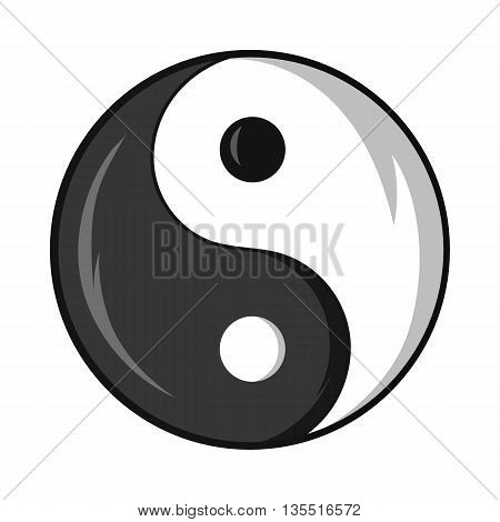 Yin and yang symbol icon in cartoon style isolated on white background