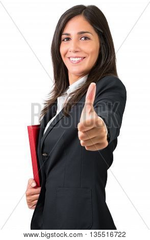ok sign of business woman or student with folder