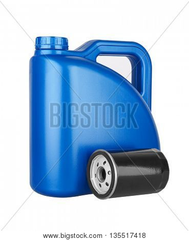 Canister with machine oil and oil filter, isolated on the white background