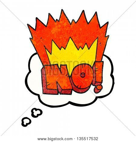 freehand drawn thought bubble textured cartoon NO! shout