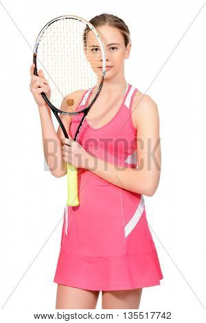 Portrait of a girl tennis player with tennis racquet. Studio shot. Isolated over white. Professional sports, tennis.