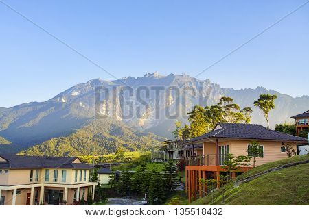 Beautiful house with majestic mount kinabalu at background