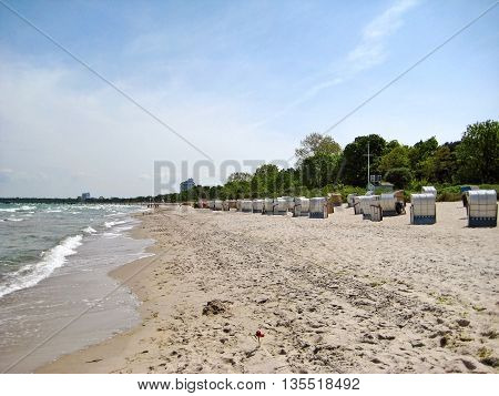 Beach in Timmendorfer Strand with beach chairs