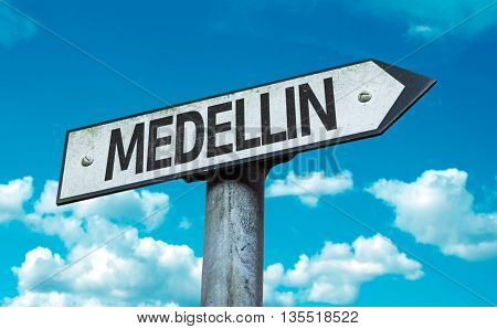 Medellin road sign in a concept image