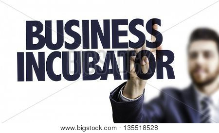 Business Man Pointing the Text: Business Incubator