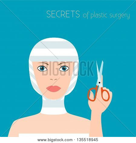 Girl after plastic surgery. Girl in elastic bandages. The effects of plastic surgery