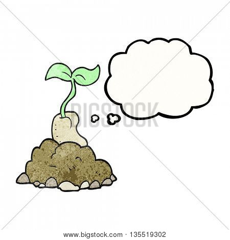 freehand drawn thought bubble textured cartoon sprouting seed