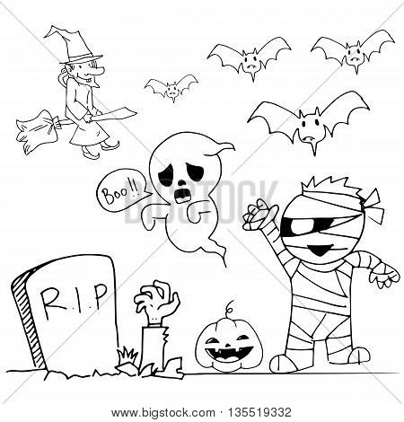 Cute Halloweeen doodle mummy ghost witch vector illustration
