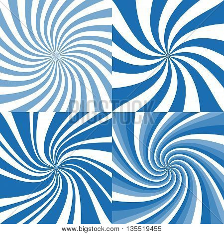 set of spiral background, blue color, whirlpool illustration background, flat design