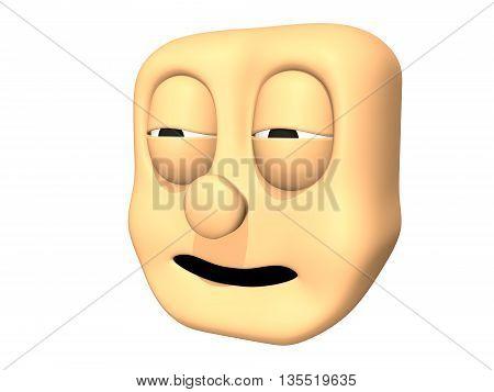 Funny 3D sleeping head icon of cartoon character.