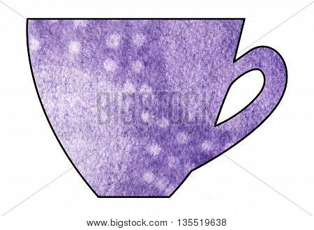Cup of tea and coffee. Handmade. Watercolor Mixed media. Cut paper. Tea time. Purple