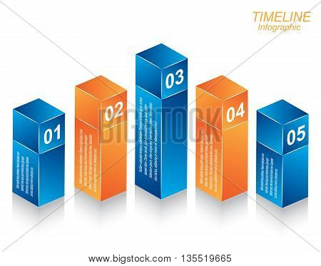 Time line Info-graphic design template in the form of a 3d box.