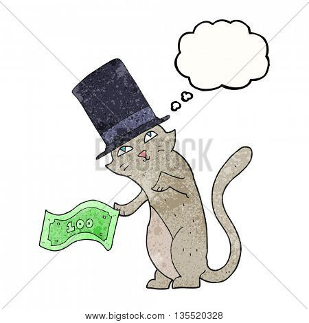 freehand drawn thought bubble textured cartoon rich cat