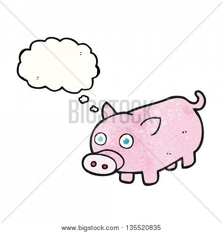 freehand drawn thought bubble textured cartoon piglet