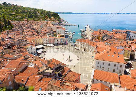 Picturesque old town Piran - beautiful Slovenian adriatic coast. Aerial view of Tartini Square.