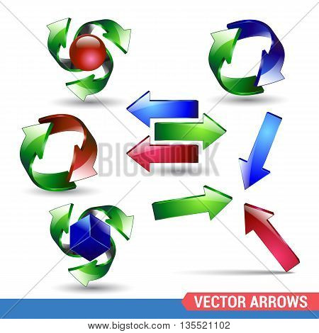 Arrow icon set. Vector on a white background. realistic collection arrow symbol illustration glossy