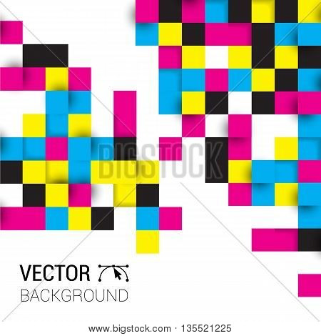 Background Squares Full Color Cmyk. Illustration Of Abstract Texture With Squares. Pattern Design Fo