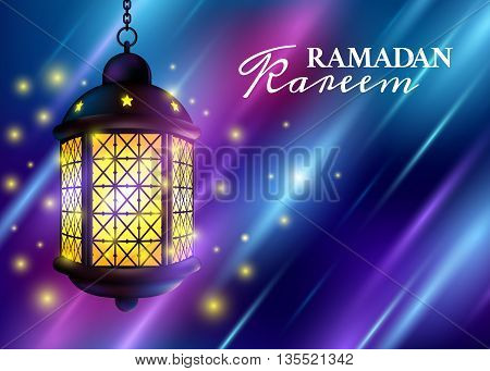 Ramadan Kareem Greetings With Colorful Set Of Lanterns Or Fanous In A Dark Glowing Background. 3D Re