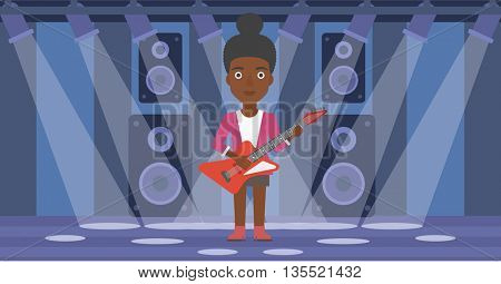 An african-american woman playing electric guitar on the stage with spotlights vector flat design illustration. Horizontal layout.