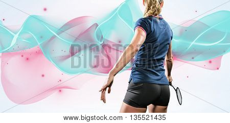 Composite image of sportswoman is playing badminton against design background