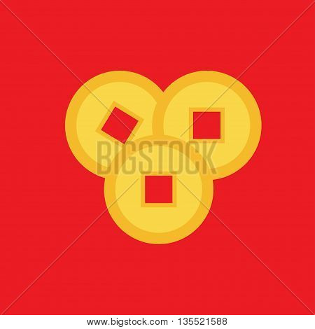 Three feng shui Chinese coin set. China gold money square centre. Golden coin with hole. Happy New Year symbol atribute. Flat design. Red background. Isolated. Vector illustration.