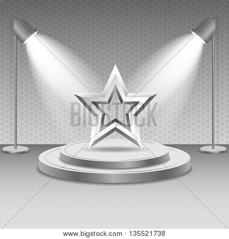 Scene with spotlights. Two spotlights illuminate the metal star on the podium with steps. Bright lighting illumination with isolated spotlights. Metal star. Vector.