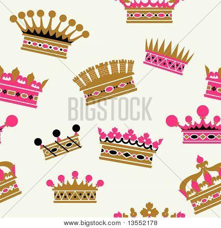 patrones sin fisuras de la corona en estilo retro
