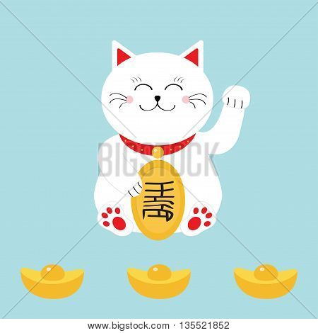 Lucky cat holding golden coin. Japanese Maneki Neco cat waving hand paw icon. Chinese gold Ingot. Feng shui Success wealth symbol mascot. Cute character. Greeting card. Flat. Blue background. Vector