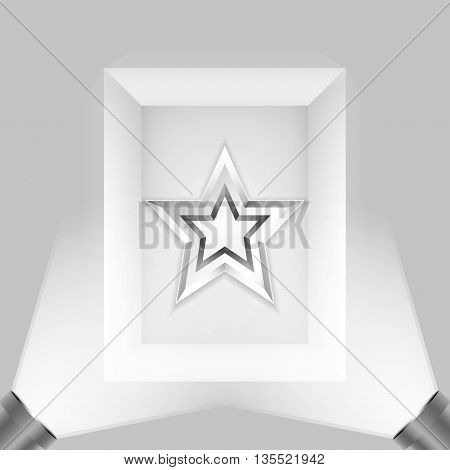 Picture with spotlights. Two lamp illuminate the metal star. Star. Vector.