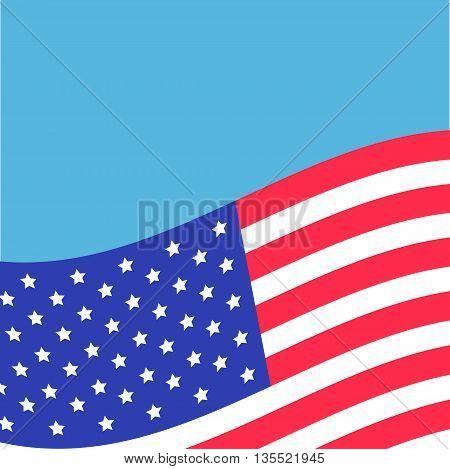 Waving American flag frame. Blue background. Greeting card. Flat design. Vector illustration