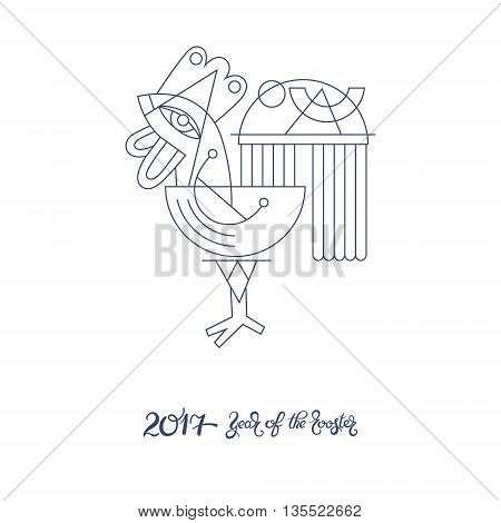 original design for new year celebration chinese zodiac signs with decorative rooster, line art folk vector illustration with hand written lettering inscription 2017 year of the rooster