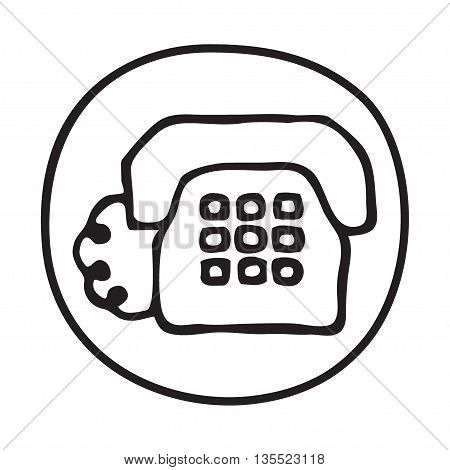 Doodle Telephone icon. Infographic symbol in a circle. Line art style graphic design element. Web button.  Client service, phone call, telecommunication concept