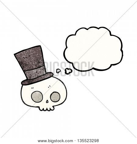 freehand drawn thought bubble textured cartoon skull wearing top hat