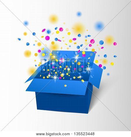 Happy Birthday Box With Confetti Surprise. Vector Blue Box Explosion