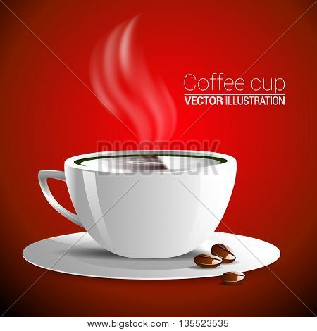 White Cup Of Fragrant Hot Coffee On A Red Background Vector Illustration