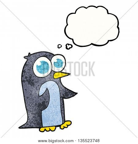 freehand drawn thought bubble textured cartoon penguin with big eyes