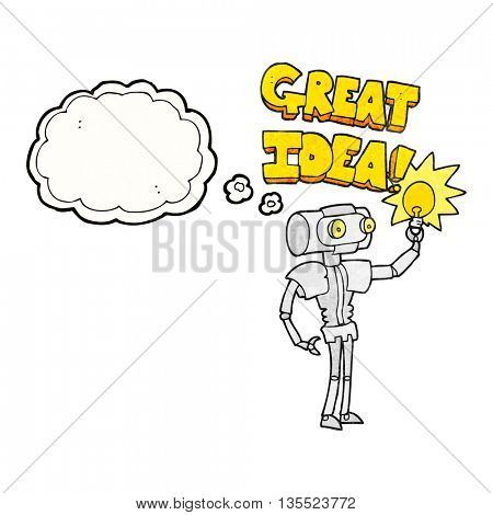 freehand drawn thought bubble textured cartoon robot with great idea