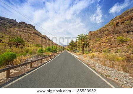 Road through the mountains of Gran Canaria island, Spain