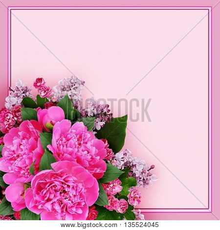 Pink peony hawthorn and lilac flowers bouquet in a corner on pink background