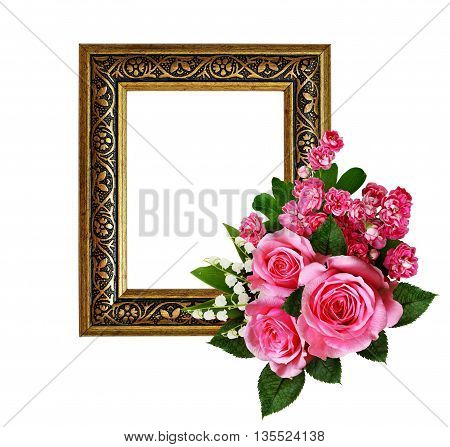 Pink flowers arrangement and a frame for photo or text isolated on white. Roses lily of the valley hawthorn flowers.