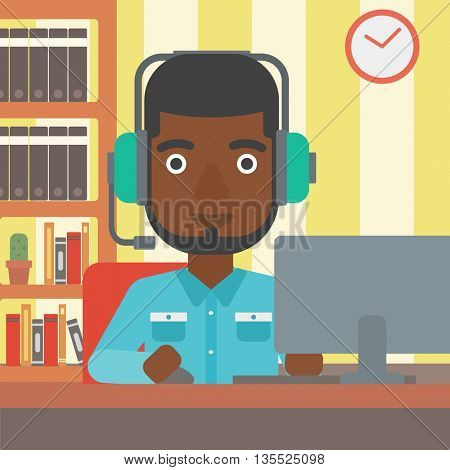 An african-american man in headphones sitting in front of computer monitor with mouse in hand on the background of living room vector flat design illustration. Square layout.