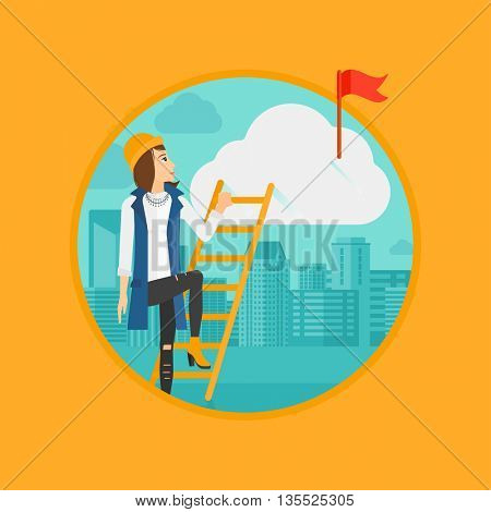 A woman holding the ladder to get the red flag on the top of the cloud. Vector flat design illustration in the circle isolated on background.